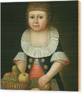 Boy With A Basket Of Fruit Wood Print