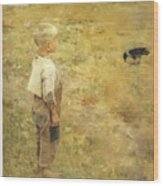Boy With A Crow Wood Print