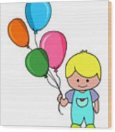 Boy With Balloons Wood Print