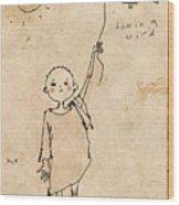 Boy With Bird Wood Print