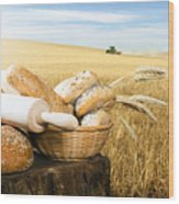 Bread And Wheat Cereal Crops Wood Print by Deyan Georgiev