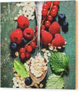 Breakfast With Oats And Berries Wood Print