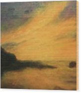 Breakwater Sunset Wood Print