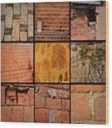 Bricks Collage  Wood Print