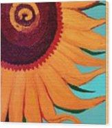 Bright Happy Sunflower Wood Print