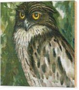 Brown Fish Owl  Wood Print