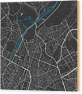 Brussels City Map Black Colour Wood Print