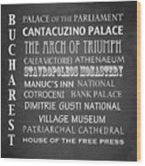 Bucharest Famous Landmarks Wood Print