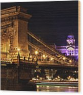Budapest City By Night Wood Print