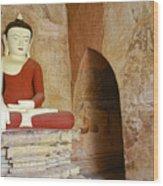 Buddha In A Niche Wood Print