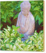 Buddha In The Garden Wood Print