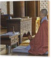 Buddhist Monk In Prayer Wood Print