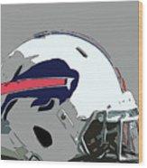 Buffalo Bills Football Team Ball And Typography Wood Print