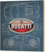 Bugatti 3 D Badge Over Bugatti Veyron Grand Sport Blueprint  Wood Print by Serge Averbukh