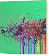 Bullet Hitting Crayons Wood Print