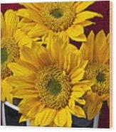 Bunch Of Sunflowers Wood Print