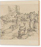 Burial In The Vendeen Marsh (un Enterrement Dans Le Marais Vendeen) Wood Print