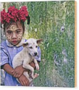 Burmese Girl With Puppy Wood Print