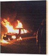 Burning Car And Fireman Wood Print