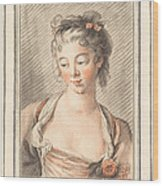 Bust Of A Young Woman Looking Down Wood Print