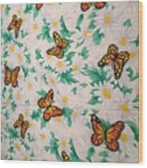Butterflies And Daisies - 1 Wood Print