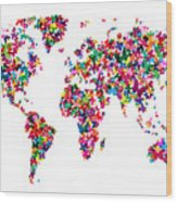 Butterflies Map Of The World Wood Print