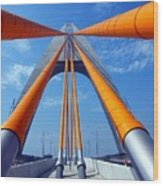 Cable Stayed Bridge With Orange Clad Cables Wood Print