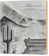 Cacti Sunset Wood Print