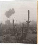 Cactus Fog Wood Print