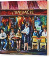 Cafe In Paris Wood Print