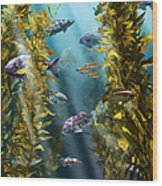 California Kelp Forest Wood Print