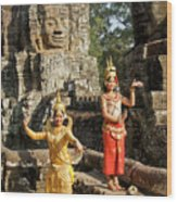 Cambodian Dancers At Angkor Thom Wood Print