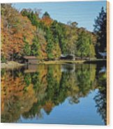 Camp Blanton Autumns Reflection Wood Print
