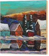 Canadian Art Laurentian Landscape Quebec Winter Scene Wood Print
