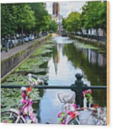 Canal And Decorated Bike In The Hague Wood Print