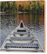 Canoe On A Lake Wood Print