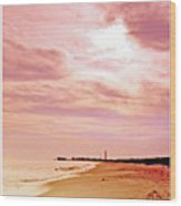 Cape May New Jersey, Sunset With Lighthouse In The Distance Wood Print