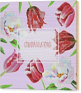 Card With Tulips And Peonies Wood Print
