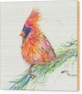 Cardinal On Branch Wood Print
