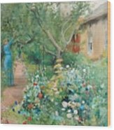Carl Larsson, Garden Scene From Marstrand On The West Coast Of Sweden. Wood Print