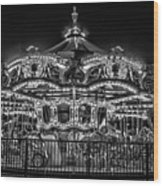 Carousel At Night Wood Print