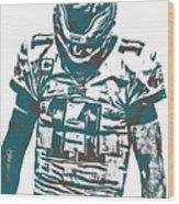 Carson Wentz Philadelphia Eagles Pixel Art 7 Wood Print