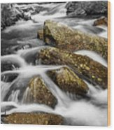 Cascading Water And Rocky Mountain Rocks Wood Print