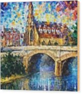 Castle By The River - Palette Knife Oil Painting On Canvas By Leonid Afremov Wood Print