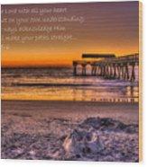 Castles In The Sand 2 Tybee Island Pier Sunrise Wood Print