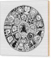 Cat Mandala Black And White Wood Print