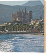 Cathedral And City Beach With People  Wood Print