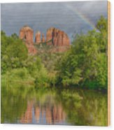 Cathedral Rock Rainbow Wood Print