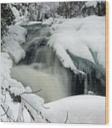 Cattyman Falls In Winter Wood Print