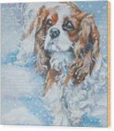 Cavalier King Charles Spaniel Blenheim In Snow Wood Print by Lee Ann Shepard